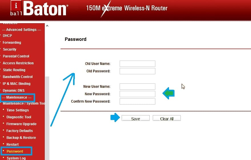 iball router default password