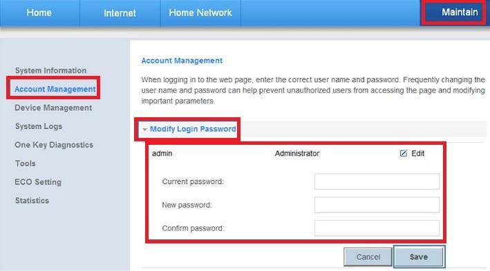 huawei login password change