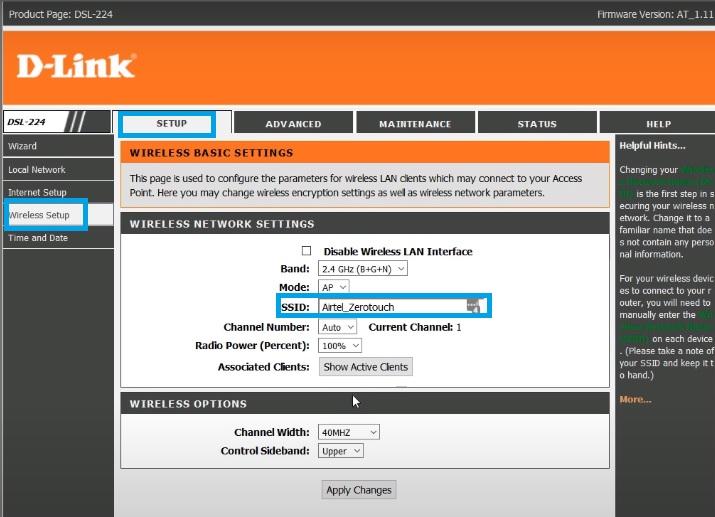 D-link DSL-224 Wireless settings