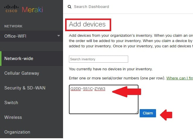 Add Access point to meraki cloud