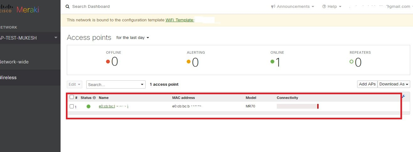 AP status added to meraki cloud list