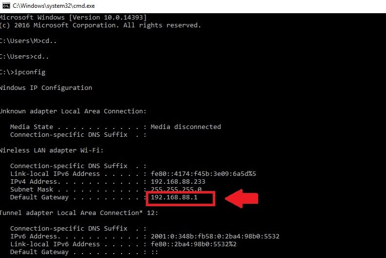 how to find your routers ip address command