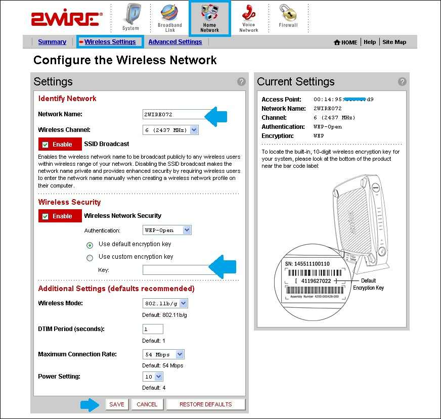 at & t 2wire modem wifi settings