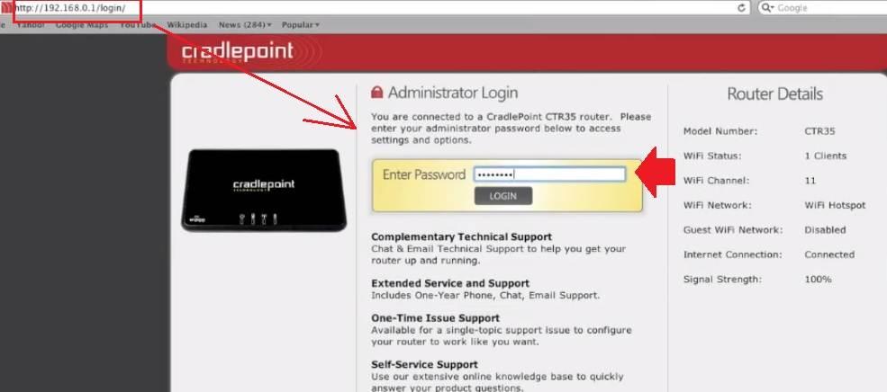 192.168.0.1 - Cradlepoint MBR900 Router login