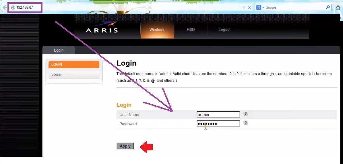 arris cm820 password of the day
