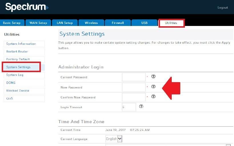 charter spectrum router login
