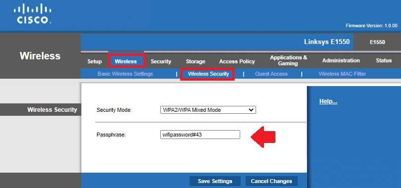 cisco wifi router password