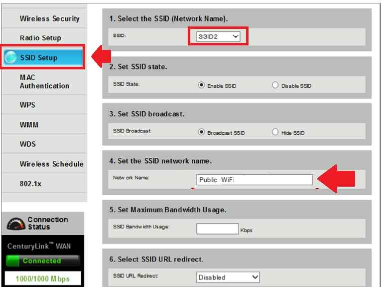 how to change centurylink wifi name