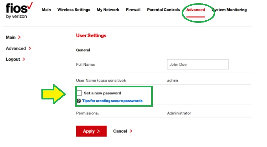 FIOS router administrator password